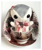 Celine - Handmade Teacup Bunny Plushie - For Sale! by tiny-tea-party