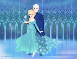 King And Queen Snow Elsa And Jack Frost by Ludynhaanime