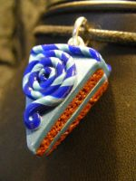 polymerclay cake chocolate.blue.swirl by BacktoEarthCreations