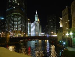 Chicago Riverfront at Night 1 by lightzone