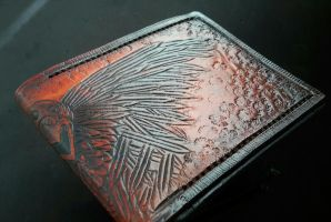 Three eyed Raven leather wallet dark brown by Bubblypies