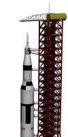 Saturn V and Service Structure by Denuvyer