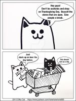 Don't go shopping on Thanksgiving by ClittyCatComics