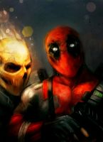 ghost rider and deadpool by suspension99