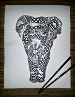 Scribbled Elephant Body by Ink-and-Chopsticks