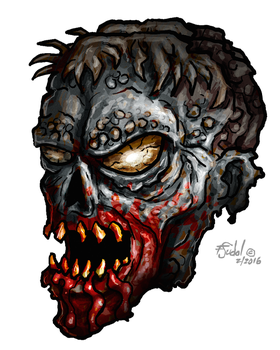 From Start to Finish Drawing a Zombie Skull by FSudol