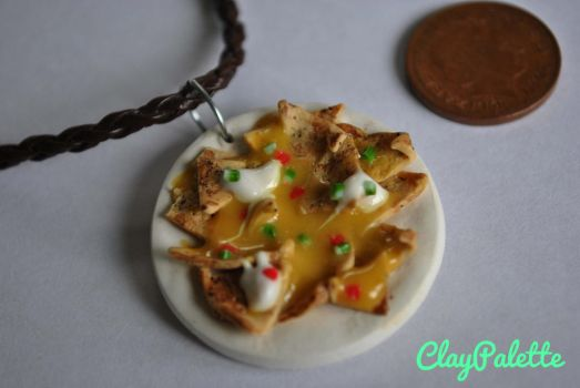 Miniature Nachos and cheese necklace. by ClayPalette