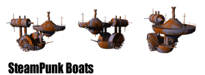 SteamPunk Boats png by mysticmorning