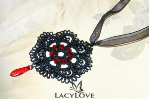 Tatted pendant DANCE OF LIFE by LacyLoveHandmade