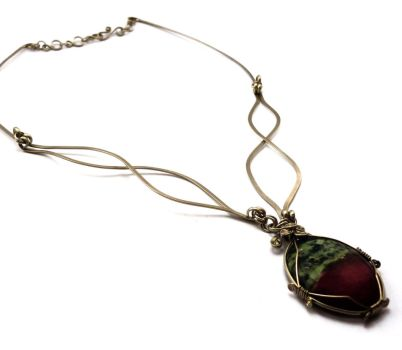 Wire Wrapped Necklace with Ruby Zoisite stone by hyppiechic