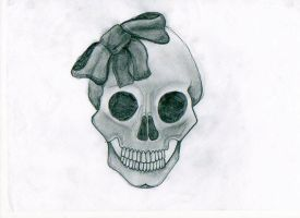 scull and bow by MercyTattoos