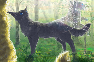 Cinderheart, Lionblaze and Cinderpelt. Warriors by Romashik-arts