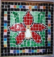 Red orchid glass tile mosaic on a cement paver 3 by Amazinadrielle