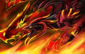 Red Demons Dragon Tyrant by slifertheskydragon