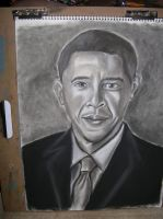 President Obama in charcol by bluespartan10