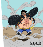 gear 4th Luffy (working on an animation of it) by delgalessio