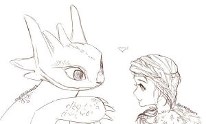 Toothless and Astrid by SaucerQueen