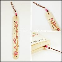 Sold - Bookmark - Wood - Pyrography - Flower(B) by SuniMam