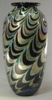 traditional vase silver and black by Bendzunas-Glass