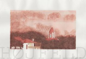 Town in misty forest by Hoejfeld