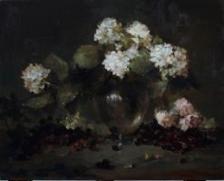 Hydrangeas and Roses - Jacqueline D. Kamin by OilPaintersofAmerica