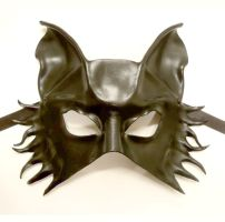 Black Half Face Wolf Dog Leather Mask by teonova