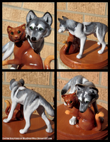Wolf And Cat Wedding Topper by WildSpiritWolf