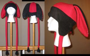 Black and Red bunny hat by malytwotails