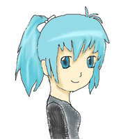blue haired girl by kirstleberry