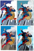 One Grummett Superman, Four Inkers, One Colorist by ComicBookArtFiend