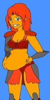 Armored Pregnant Flame Princess by flclalchemist145