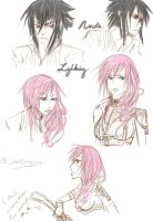 Lightning and Noctis Sketches by ConnieConnConn