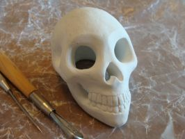 Skull Sculpture WIP by CandyCrystals