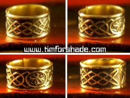 Celtic four-leaf clover good luck adjustable ring by TimforShade