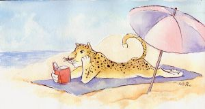 Reading at the Beach by KelliRoos