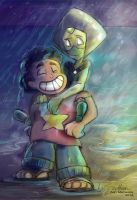 (Commission) Steven and Peridot in the rain by Mad--Munchkin