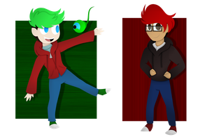 Tiny Jackaboy and Markimoo by Violet-The-Cat