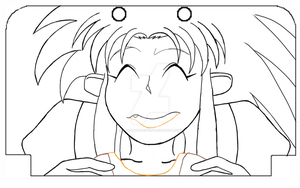 3DS XL Template drawing Sketch Ryoko by gamemaster8910