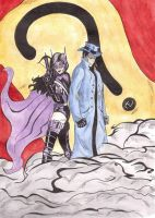 The Question and Huntress watercolors by 0Anonymous0