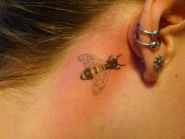 Small bumble bee tattoo by welcometoreality