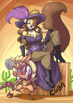 Abigail and Toothpick going west by Jaehthebird