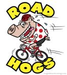 Road Hogs Cartoon Pig on Bicycle by gcoghill
