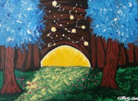 Enchanted Forest with Moonrise by CreativeHand9