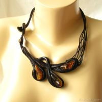 Hand carved wooden necklace with amber 3163 by AmberSculpture