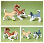 Husky family dog sculptures by SculpyPups