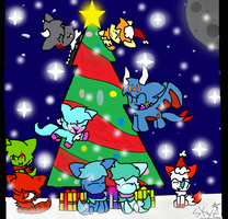 Friends on X-Mas day (gift for all on here X3) by skye-and-star