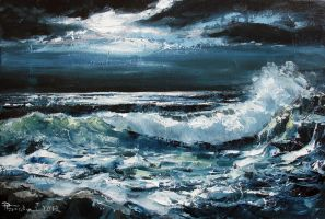 Seascape (night) Oil Painting by Boias