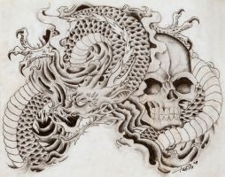 Dragon And Skull by ElTri