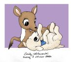 Baby Deer And Lamb Reclining by blissfulworm