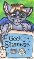 Badge - Geek Siamese by foxyfennec